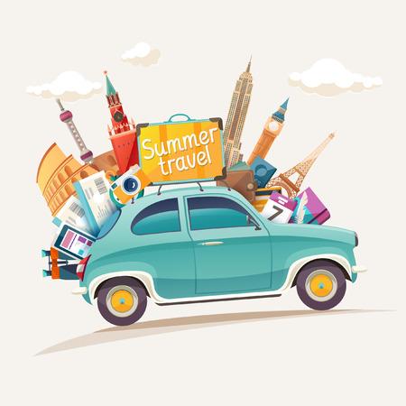ilustración de viaje con el coche retro verano y lugares de interés arquitectónico Ilustración de vector