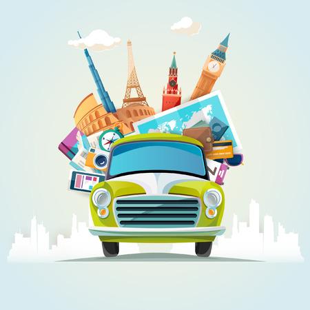 reise retro: Sommer-Reise-Illustration mit Retro-Auto und architektonischen Sehenswürdigkeiten
