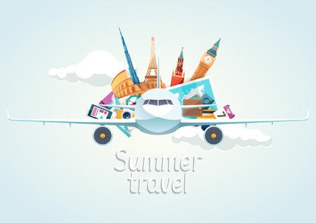 飛行機で夏旅行イラスト