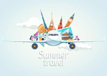 Summer travel illustration with airplane 版權商用圖片 - 56937920