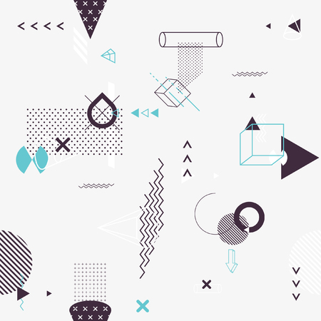 Seamless background of geometric elements Ilustração