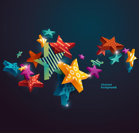 Abstract background with colorful bright stars