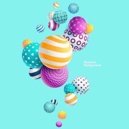 色とりどりの装飾的なボール。抽象的なイラスト。