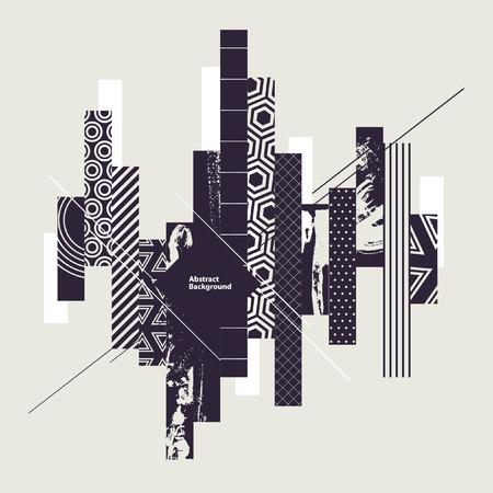 perspectiva lineal: Fondo geom�trico blanco y negro abstracto Vectores