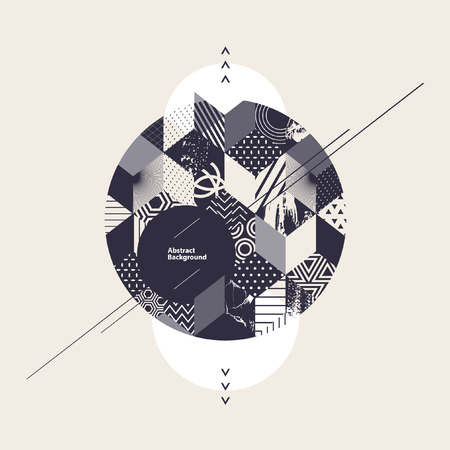 абстрактный: Абстрактный геометрический фон с кругом Иллюстрация
