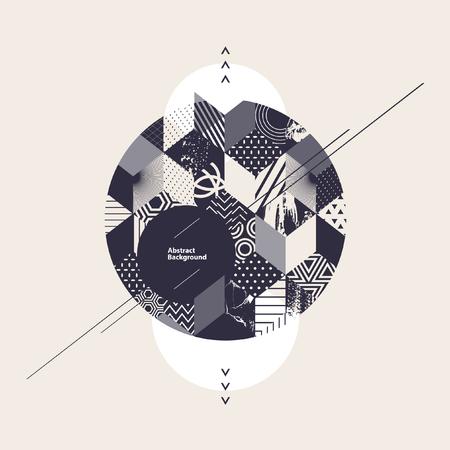 perspectiva lineal: Fondo geométrico abstracto con el círculo
