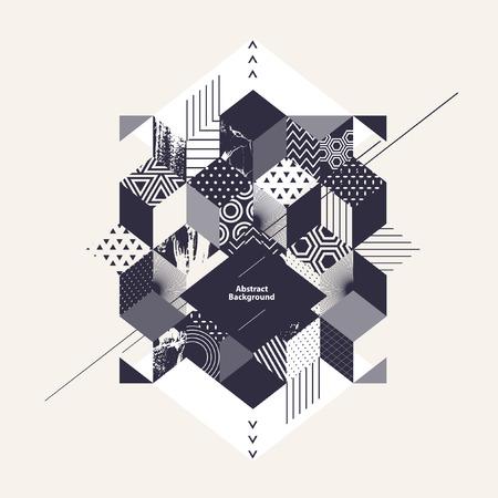 Abstracte geometrische achtergrond met vierkant Stock Illustratie