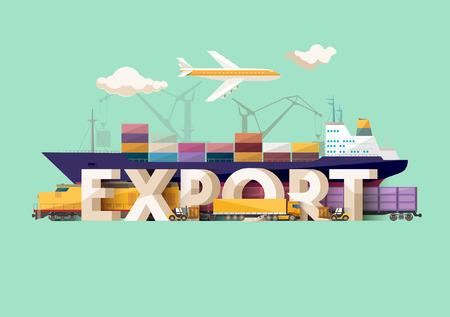 Het concept van de export. Typografische poster.