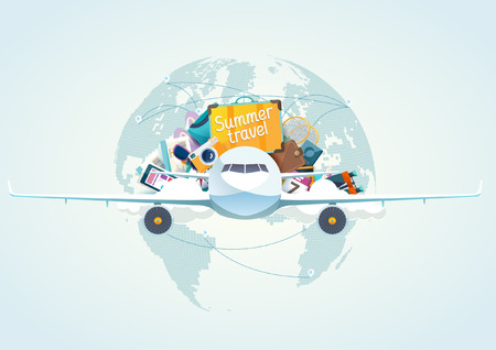airplane: Summer travel illustration with airplane. Illustration