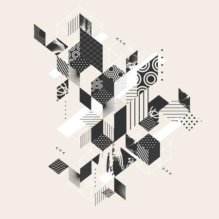 perspectiva lineal: fondo plano abstracto geométrico Vectores