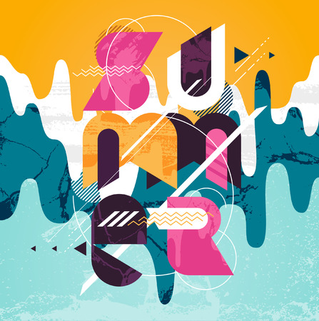 typographic: Summer colorful typographic poster Illustration