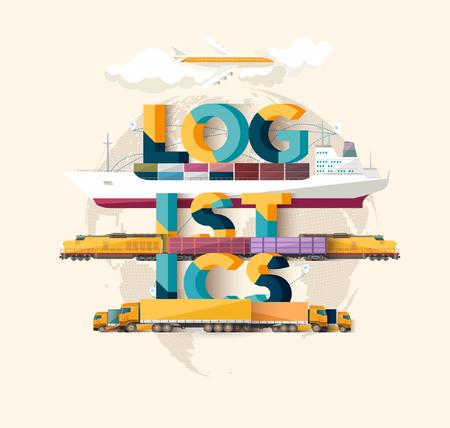 negocios internacionales: concepto de logística. cartel tipográfico.