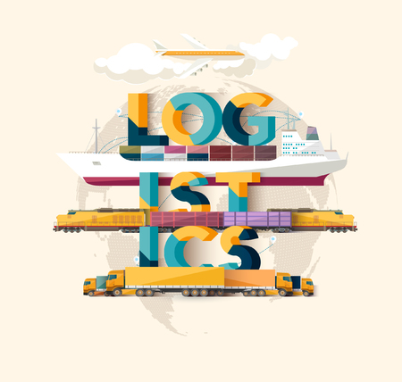 international business: logistics concept. Typographic poster.