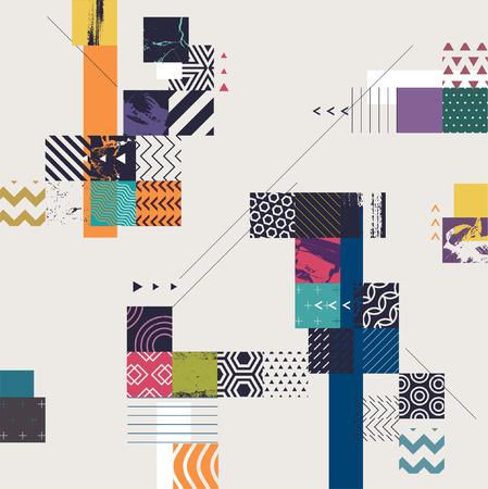 Abstracte geometrische achtergrond met vierkanten Stock Illustratie