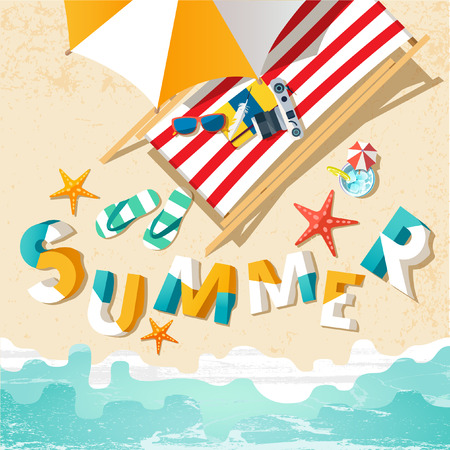 summer holiday: Summer holiday illustration with lettering.