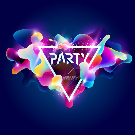 Poster for party. Plastic colorful shapes. Vectores
