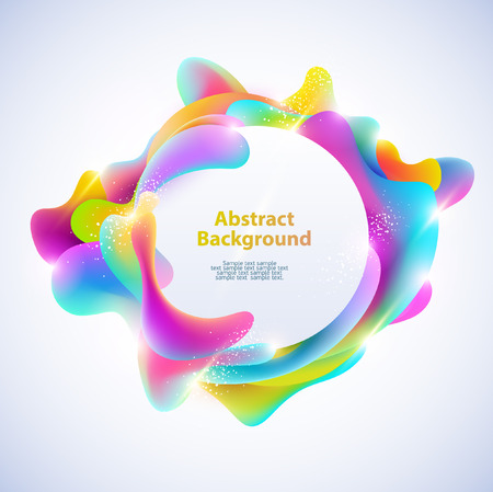 contrasty: Abstract round banner. Plastic colorful shapes. Illustration