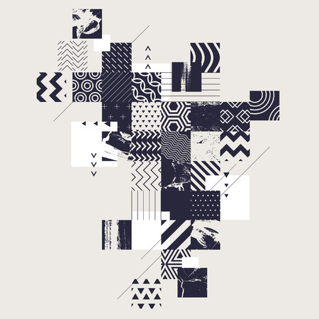 Abstract composition of decorative squares Illustration
