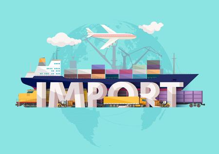 lorries: Import concept. Typographic poster.