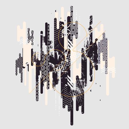 perspectiva lineal: Fondo geométrico blanco y negro abstracto Vectores