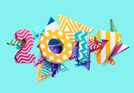 contrasty: New year 2017. Colorful design. Illustration