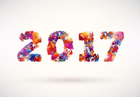 New year 2017. Colorful design. Illustration