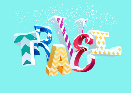 single word: Winter travel - vector colorful word. Typographic illustration.