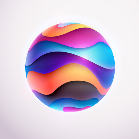 contrasty: 3D colored striped ball Illustration