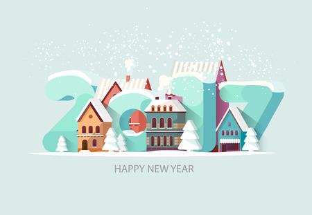 New year 2017. Greeting card. Illustration
