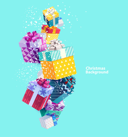 festive background: Christmas colorful gifts. Realistic vector design Illustration