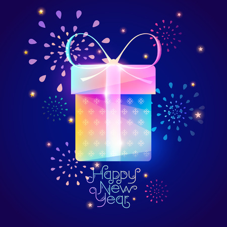 happy new year text: Christmas colorful gift Illustration
