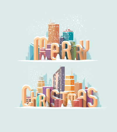 city: Christmas greeting card. Urban landscape and a large inscription.