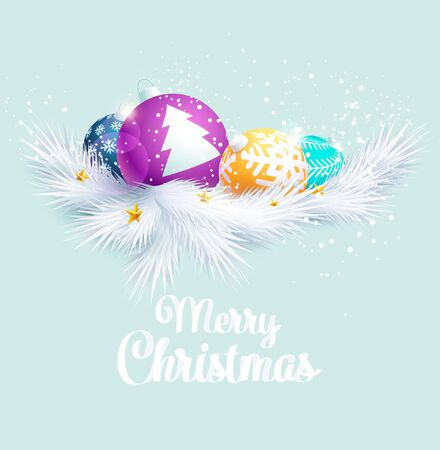 Colorful Christmas balls with white fir branch