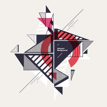 perspectiva lineal: Composición geométrica abstracta con triángulos decorativos
