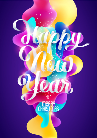 Happy New Year card with calligraphic inscription, Realistic colorful design. Illustration