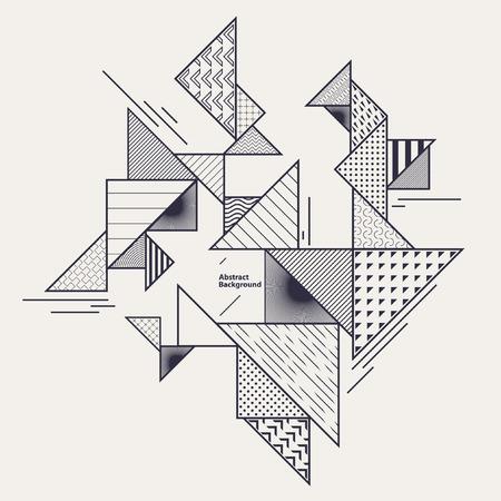 Abstracte geometrische compositie met decoratieve driehoeken