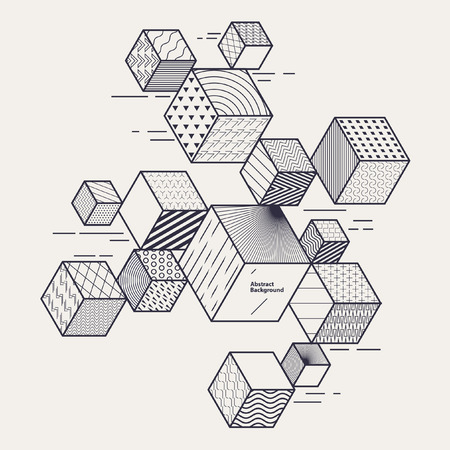 translucent: Abstract geometric composition with decorative cubes