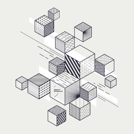 perspectiva lineal: Abstract geometric composition with decorative cubes