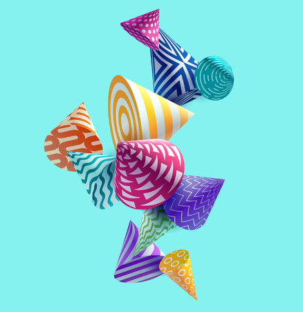 Abstract colorful background with 3D geometric elements