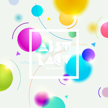 Abstract white background with colorful geometric shape.
