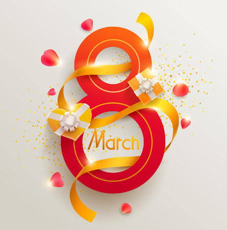 March 8, international womens day. Vector greeting card.