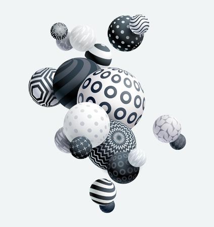 3D decorative balls. Abstract vector illustration.
