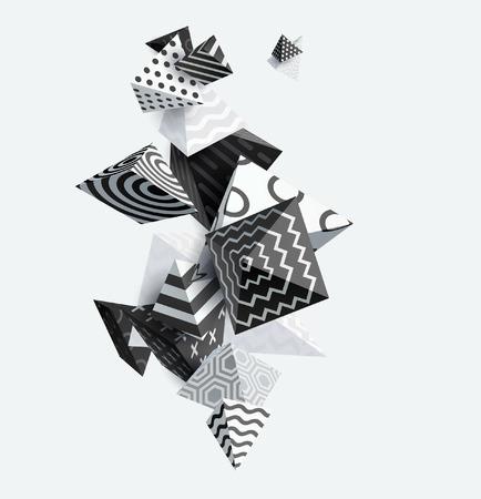 Pyramide décorative 3D. Illustration vectorielle abstraite. Banque d'images - 72166927