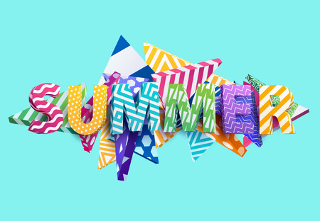contrasty: Summer - Bright colored lettering. Realistic 3d poster.