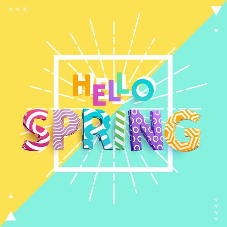 colourful sky: Spring - Bright colored lettering. Realistic 3d poster. Illustration