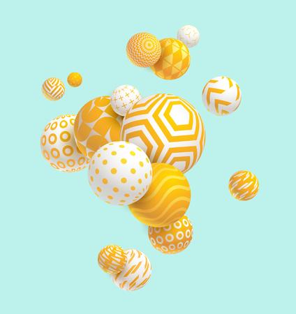 striped: 3D decorative balls. Abstract vector illustration.