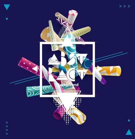 Colorido cartel con elementos geométricos y espacio para texto