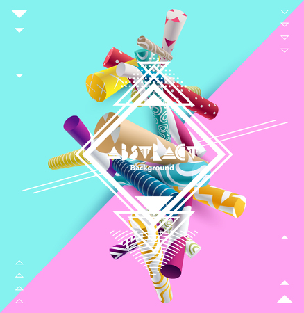 Abstract poster with 3d geometric elements