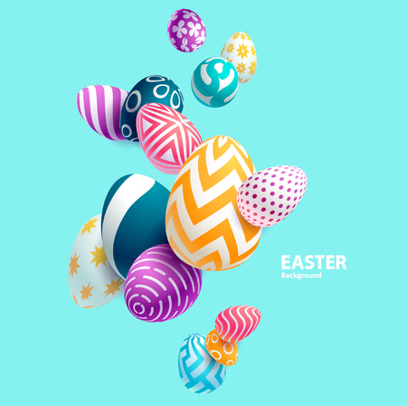 contrasting: Composition of 3D Easter eggs. Holiday background.