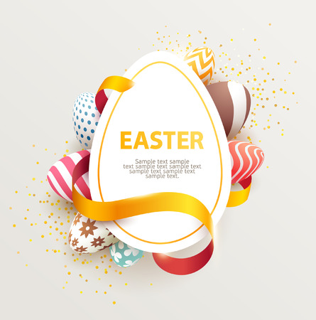 place for the text: Easter colorful poster with place for text.